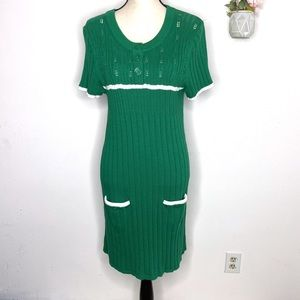 Banana Republic Bodycon Green Knit Sweater Dress